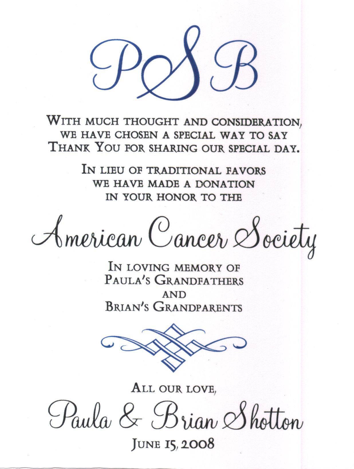 Wedding Donation Wording For Ovarian Cancer Favor Card