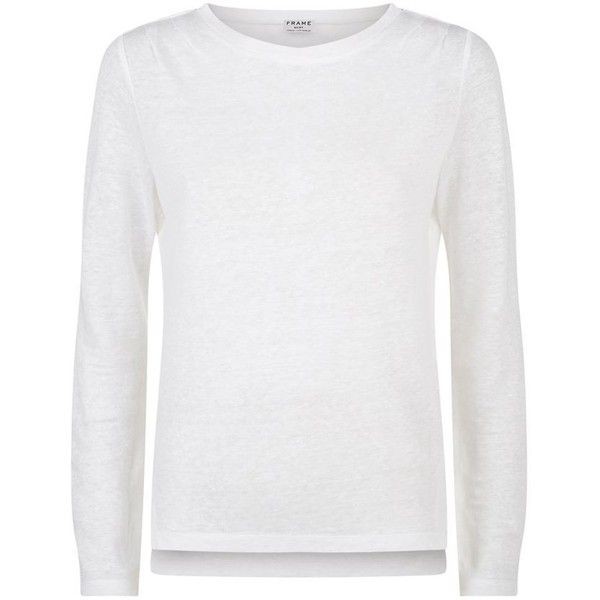 Frame Pintuck Long Sleeve T-Shirt (3,065 MXN) ❤ liked on Polyvore featuring tops, t-shirts, longsleeve t shirts, denim top, lightweight long sleeve t shirts, lightweight t shirts and relaxed fit tee