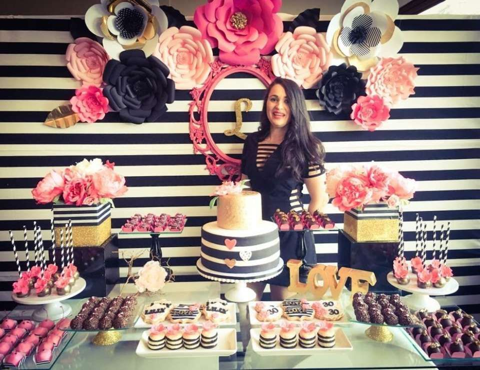 Black white pink and a little golden birthday my for 30th birthday decoration ideas