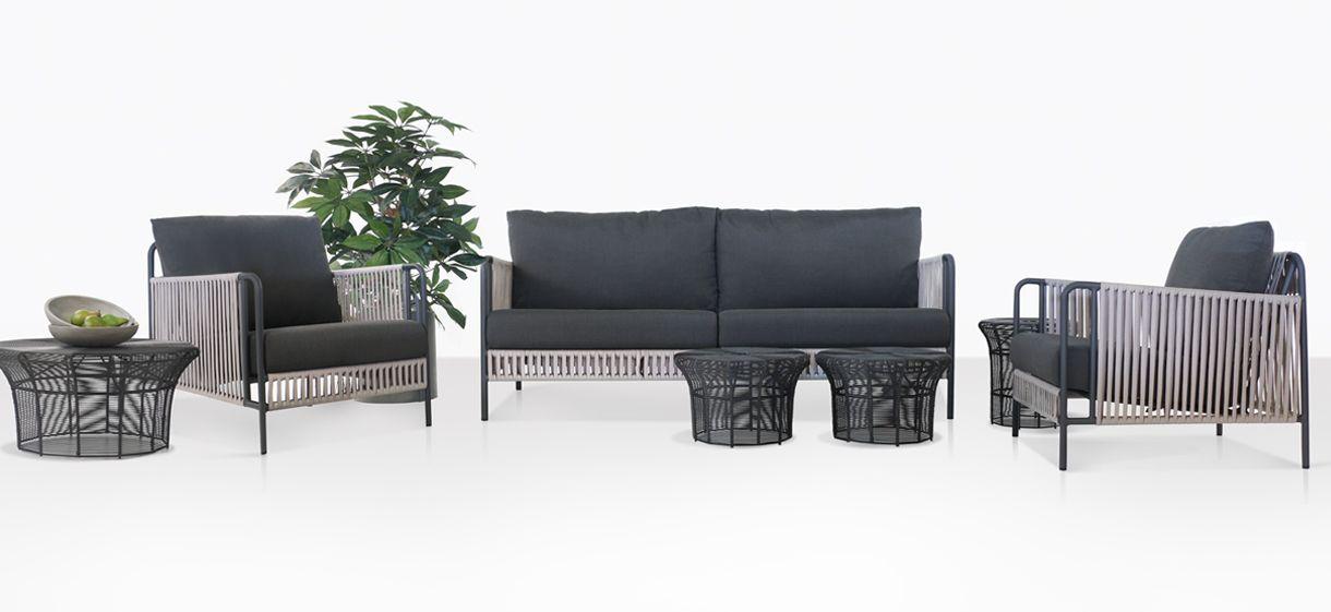 Fontana Rope Outdoor Collection Patio Furniture Set Teak