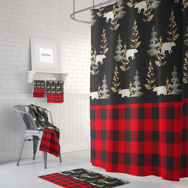 Plaid Rustic Woodland Bears Shower Curtain Rustic Shower