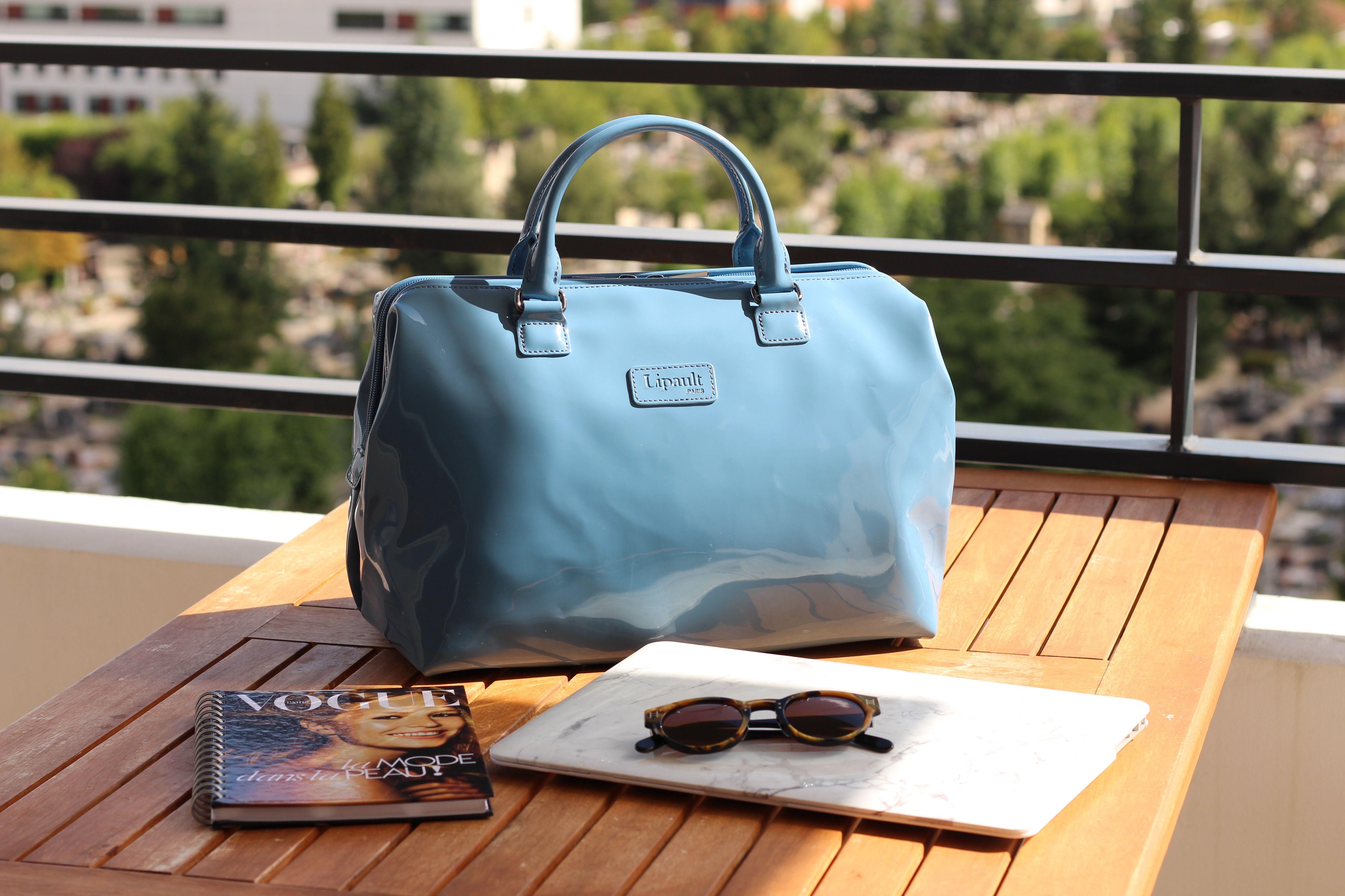 Guiwome Lipault Plume Vinyl Weekend Bag Steel Blue