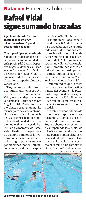 """""""Un Millón de Metros por Rafael Vidal"""" Evento que se realizó en la piscina del Centro Deportivo Eugenio Mendoza, Chacao . Publicado el 21 de febrero de 2010."""
