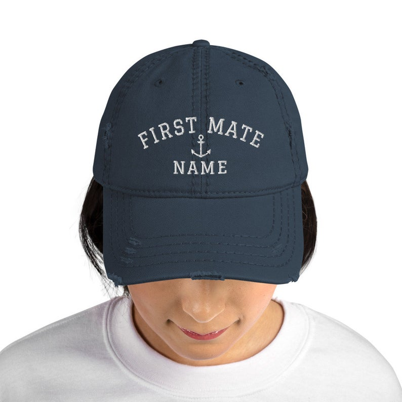 Personalized First Mate Hat Custom Baseball Cap Nautical Distressed Dad Hat Embroidered Sailor Hat Fun Gift For Sailing Dad Hats Hats Headwear