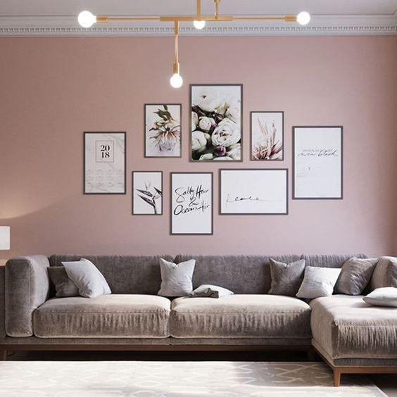 Inspirierend Wandfarbe Seidenglanzend Haus Interieur Ideen: Grijs- Rose Interieur Voor Woonkamer #wanddekowohnzimmer