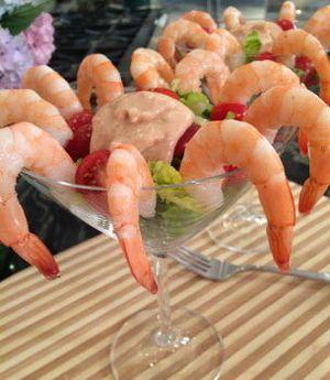 Quick poached shrimp cocktail
