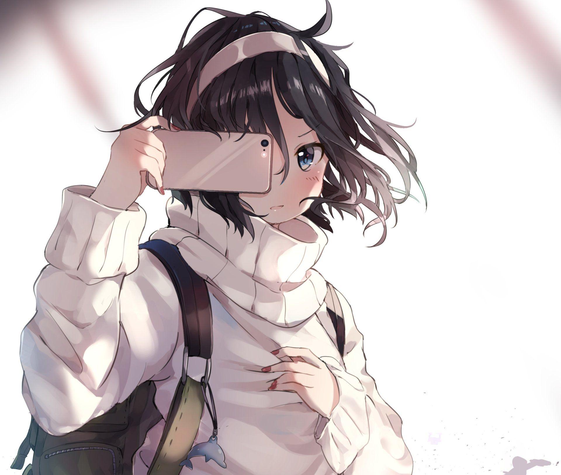 Anime Original Short Hair Black Hair Headband Smartphone