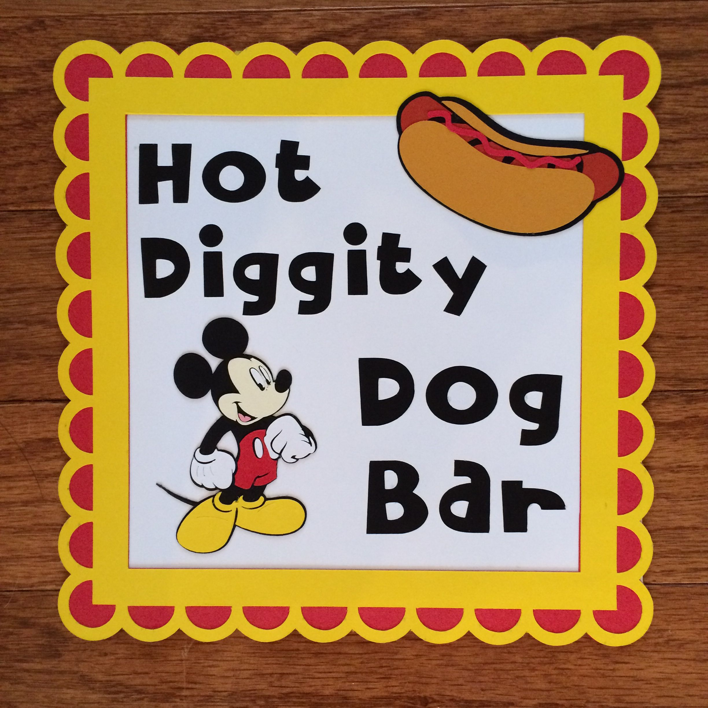 Mickey Mouse party hot diggity dog bar sign by Creative