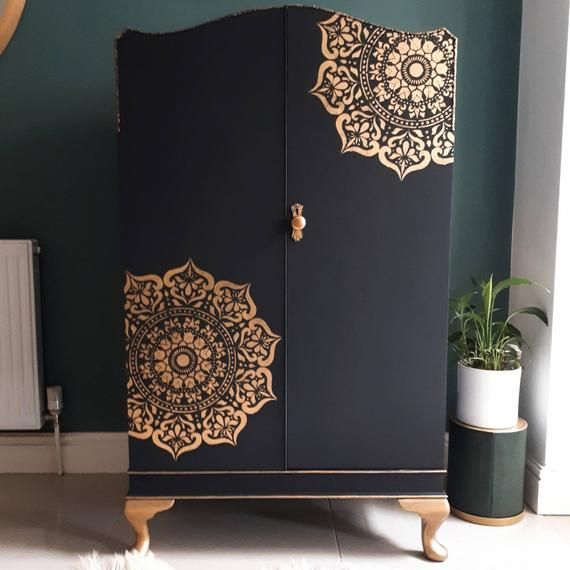 SOLD SOLD SOLD! Vintage Upcycled Curved Top Cabinet, Cupboard with shelves / Black & Gold / Recycled
