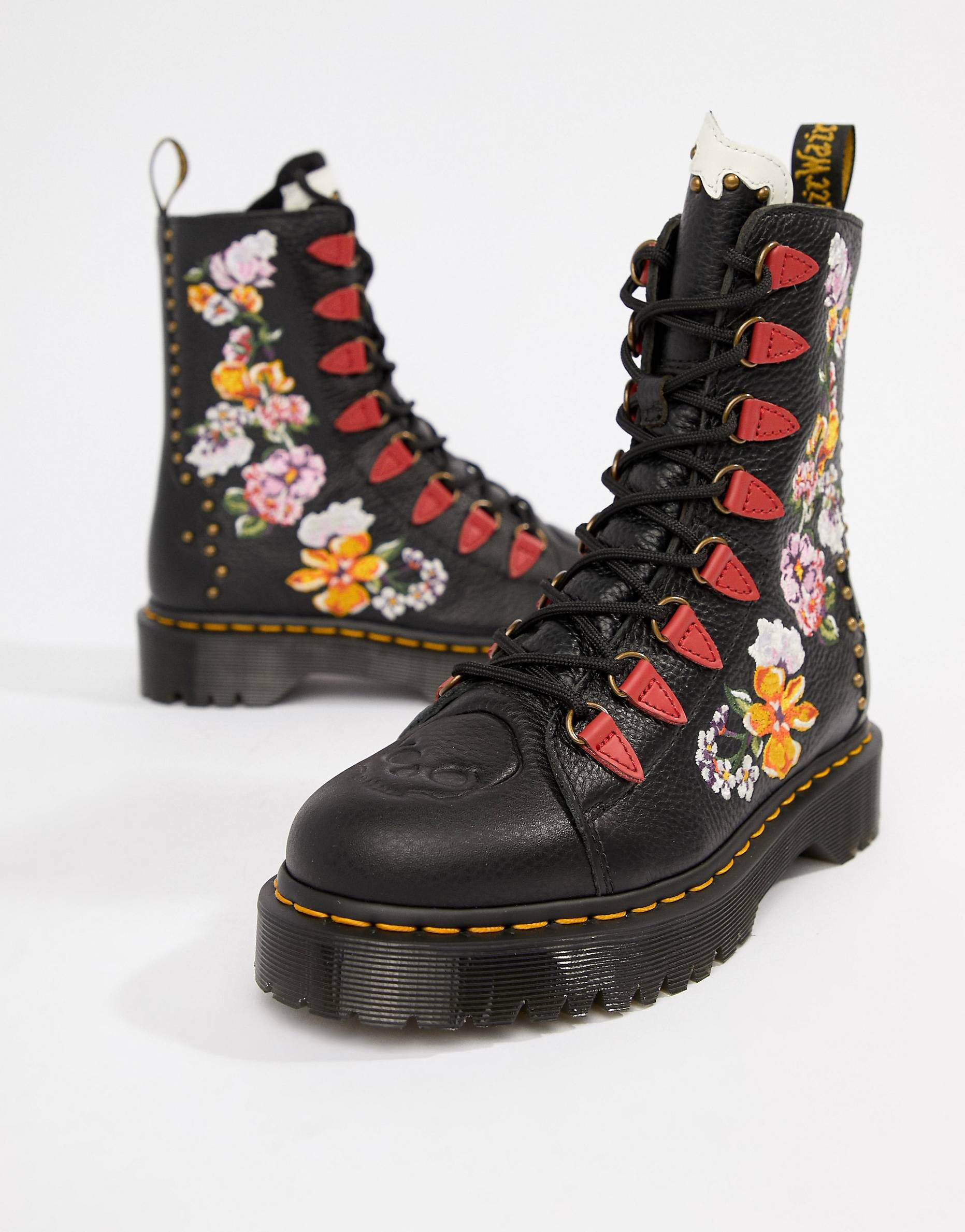 fd9cf30b4ff Dr Martens Nyberg Black Leather Embroidered Flatform Boots ...