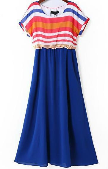 Blue Contrast Striped Short Sleeve Chiffon Dress 23.00