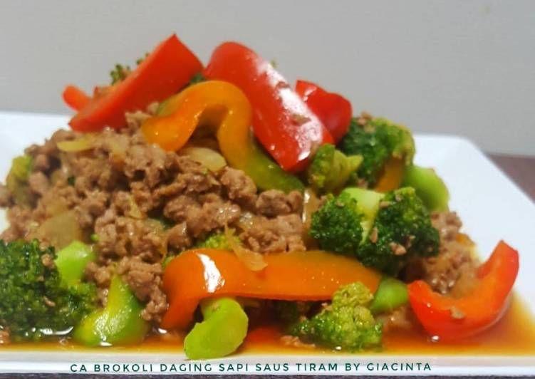 Resep Ca Brokoli Daging Cincang Saus Tiram Oleh Giacinta Permana Resep Resep Masakan Daging Cincang Saus Tiram