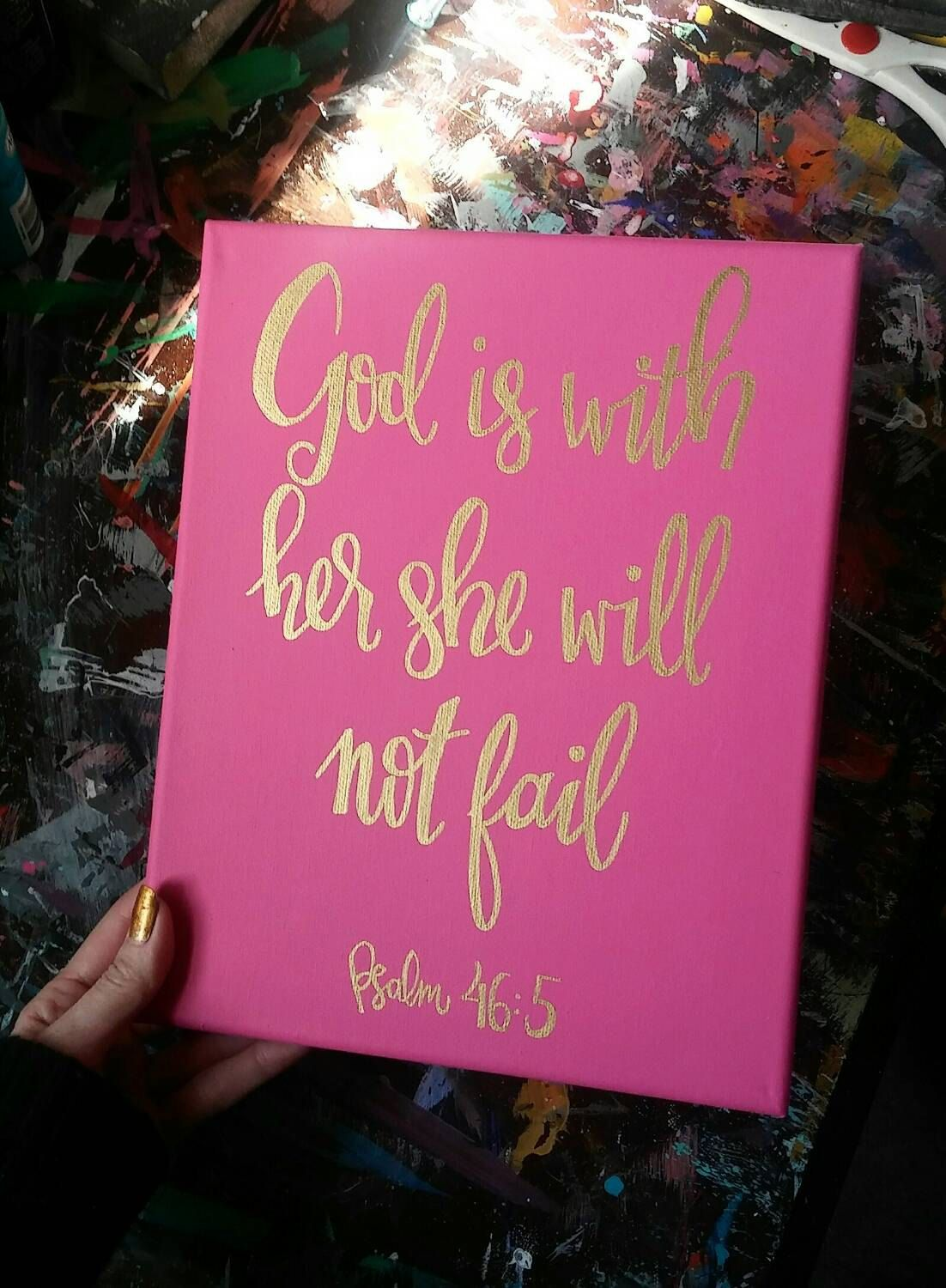 Bible Verse Canvas Painting Sign Girls Wall Art Pink And Gold Decor Home
