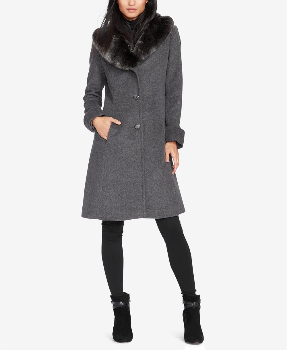 Lauren Ralph Lauren Faux-Fur-Collar Walker Coat & Reviews ...