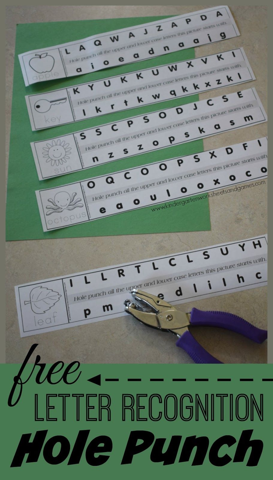 Free Alphabet Hole Punching Activity! Cute letter