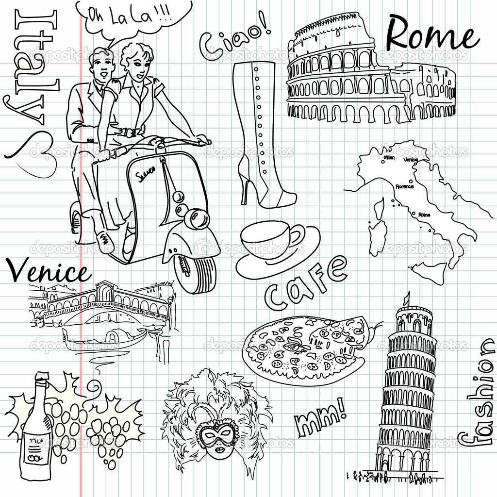 Italy Doodles Coloring Pages Scooby Doo Coloring Pages Travel