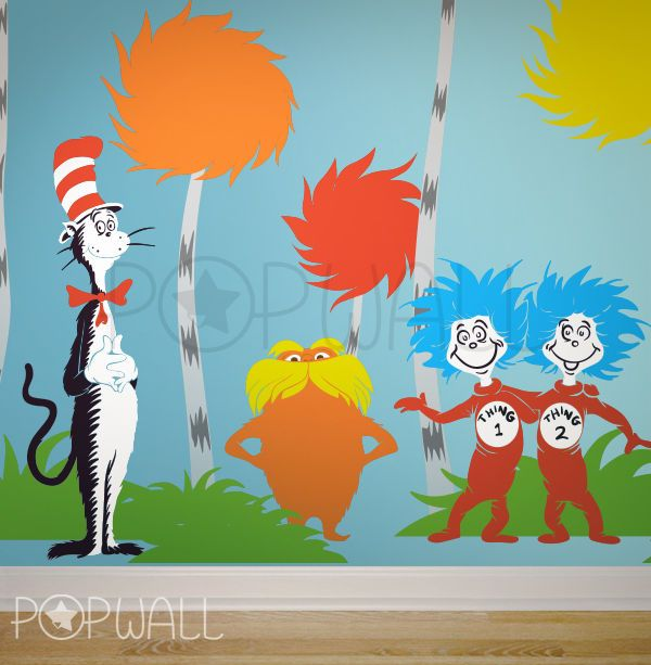 Children Wall Decals Wall Sticker   Dr Seuss Characters, Lorax, Thing 1  Thing 2 #popwall #Drseuss