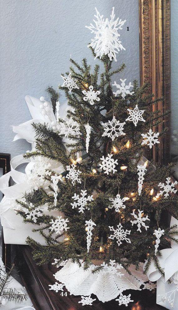 Christmas Tree Crochet Patterns - Tree Skirt, Snowflakes, Icicles ...