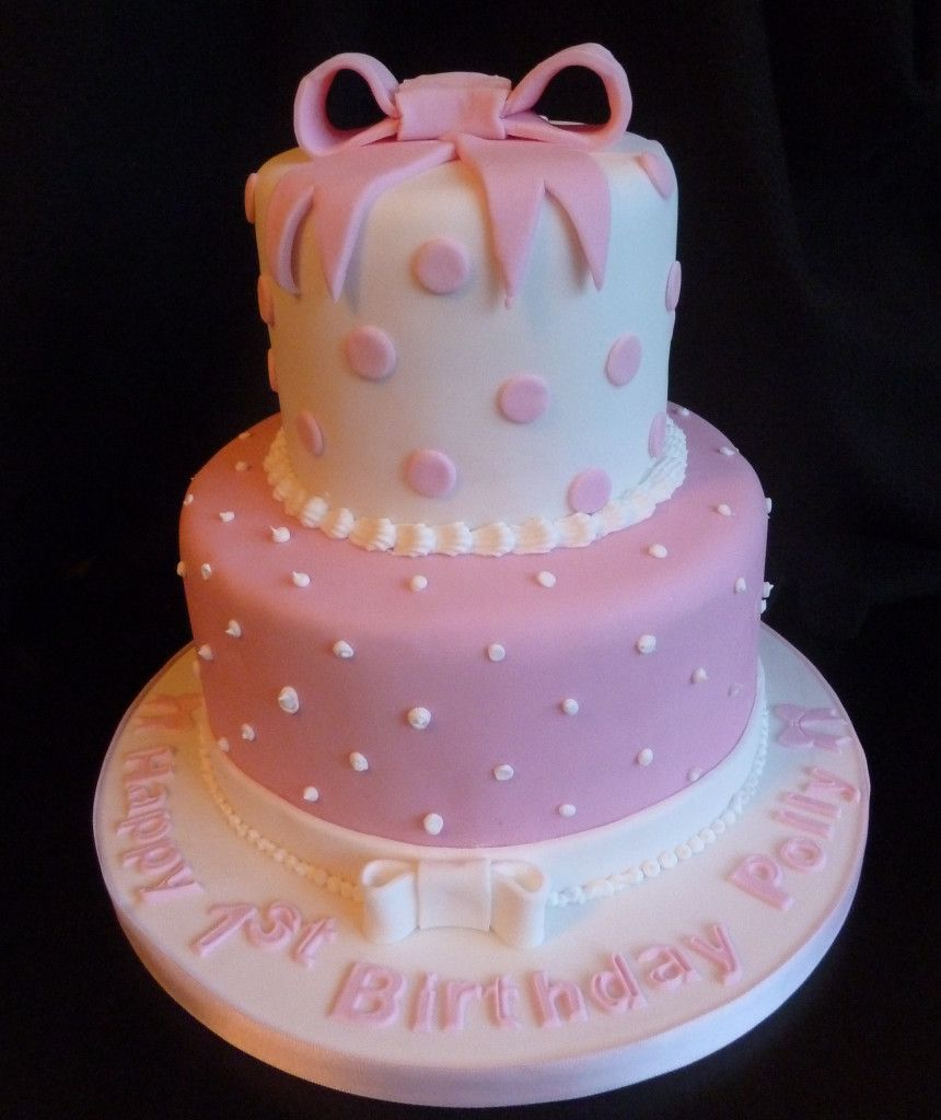 A simple design theme for this lovely 1st birthday cake two tier