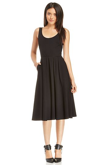 aebca30e7c DAILYLOOK Pleated A-Line Midi Dress in Black XS - XL