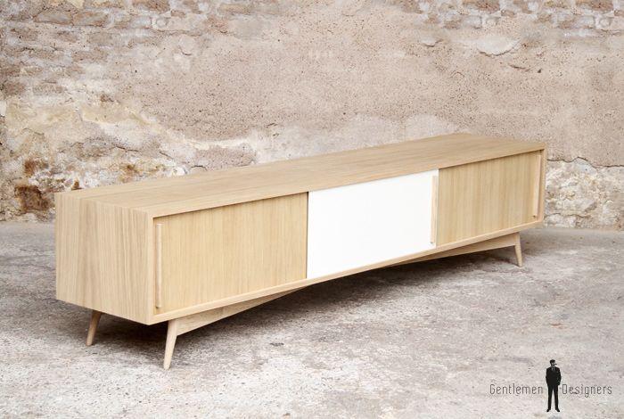 Creation sur-mesure   meuble tv chene 3 portes 220cm / mtv-lc-3e-02