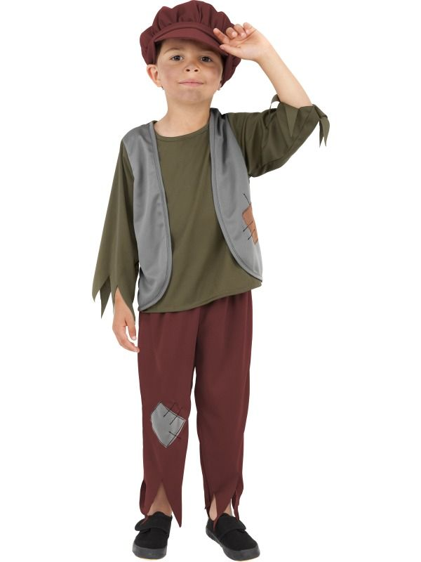Victorian Poor Boy Costume Child Urchin Book Day Week Fancy Dress Peasant Outfit