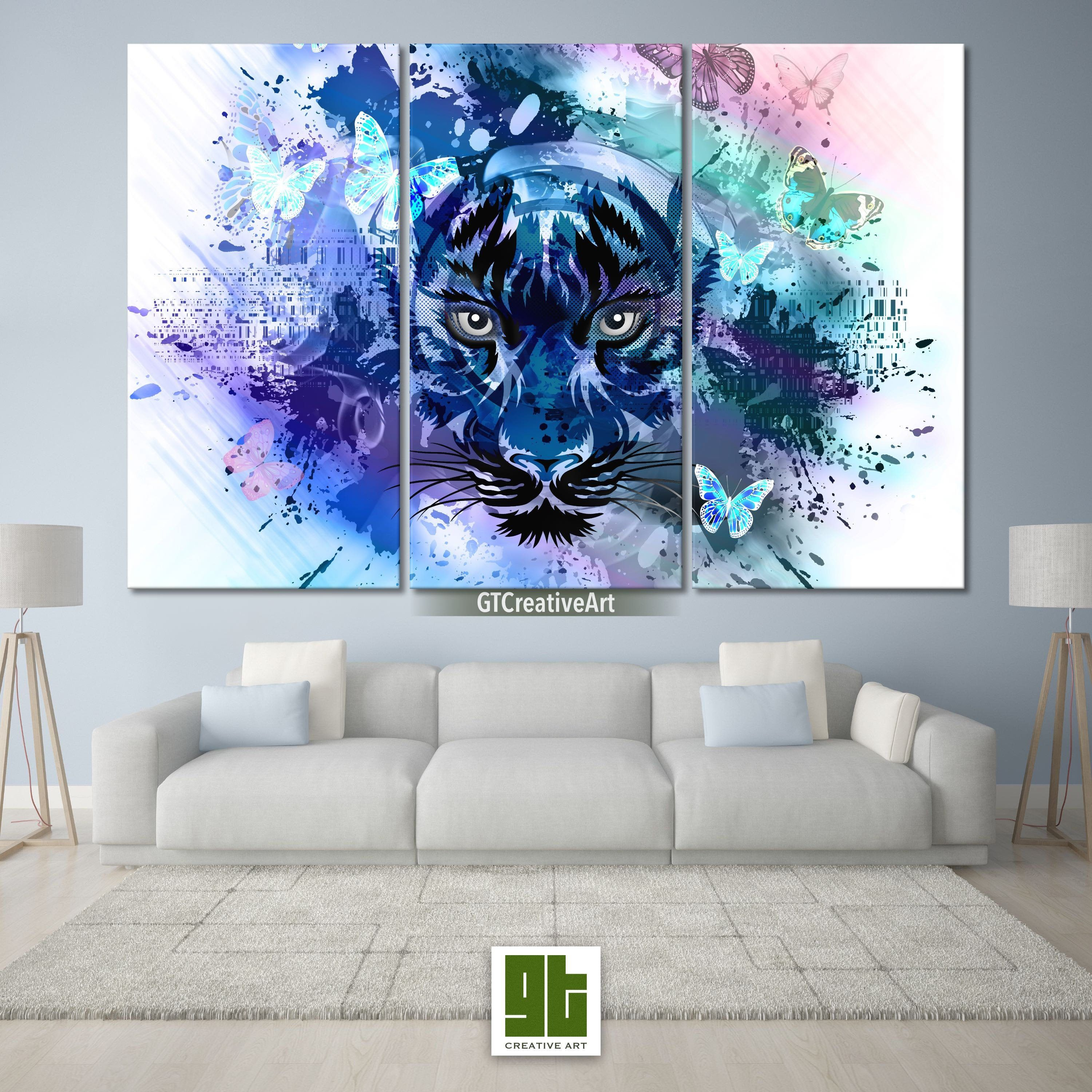 Abstract blue tiger multi panel framed canvas set angry