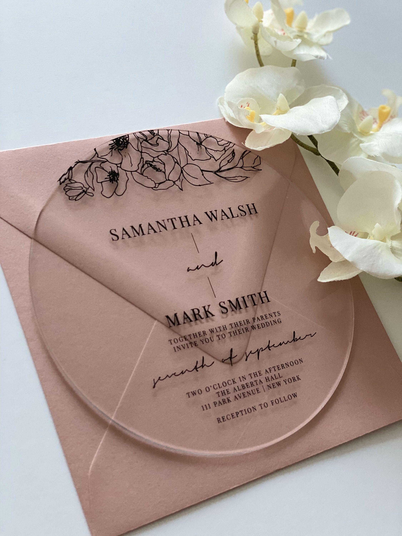 ROUND ACRYLIC wedding invitation modern clear transparent