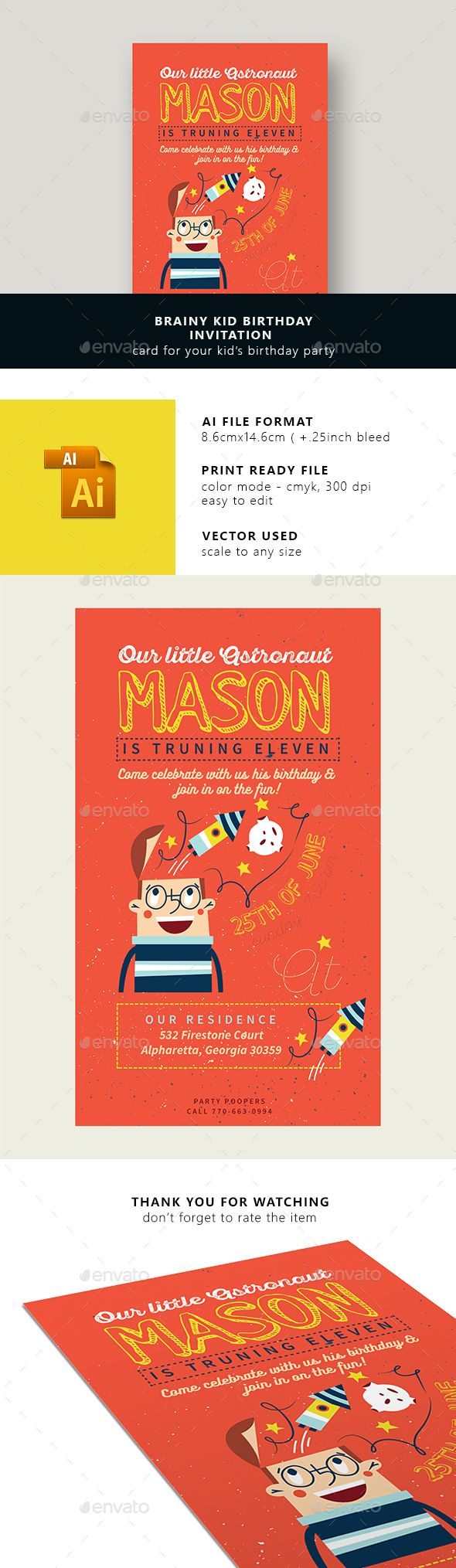 Brainy Kid Birhday Invitation Card | Pinterest | Ai illustrator ...