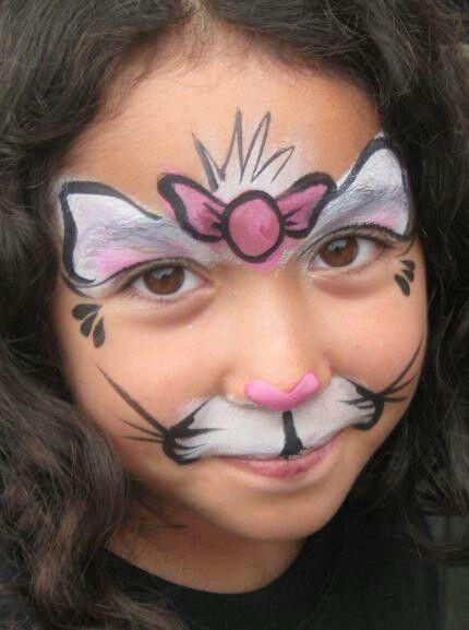 Face Painting Kat Met Strik Girl Face Painting Face Painting Designs Face Painting