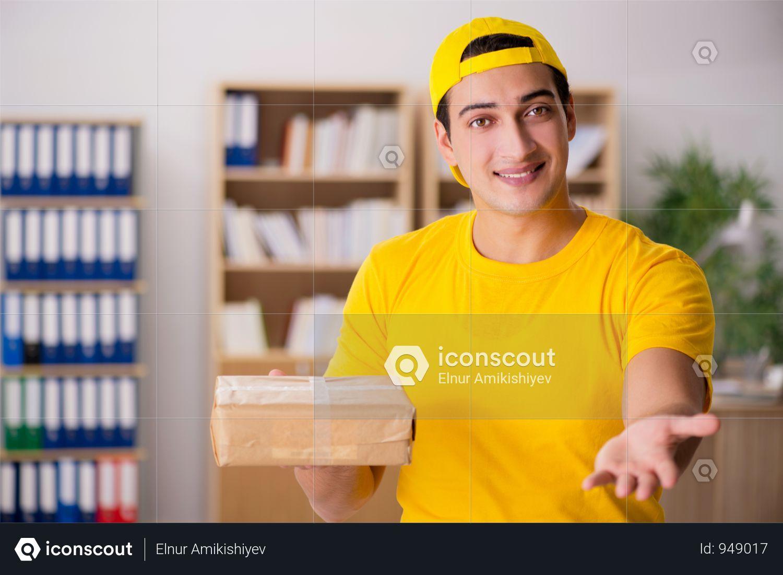 Premium Delivery Man Delivering Parcel Box Photo Download In Png Jpg Format Parcel Box Delivery Man Man