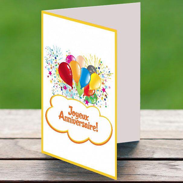 carte anniversaire ballons et artifices