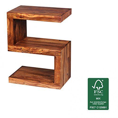 FineBuy Beistelltisch Massiv Holz Sheesham 60 Cm Wohnzimmer Tisch Design Dunkel Braun Landhaus