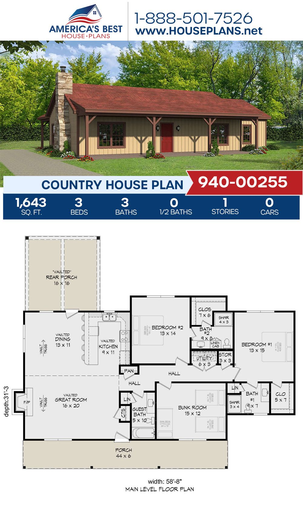 House Plan 940 00255 Country Plan 1 643 Square Feet 3 Bedrooms 3 Bathrooms Country House Plans Country House Design House Plans