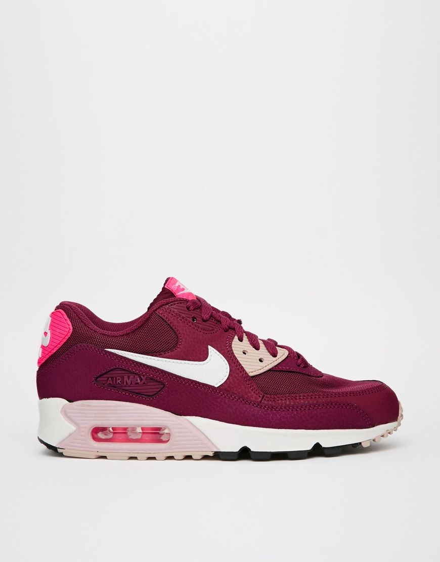 Image 2 of Nike Air Max 90 Essential Burgundy Sneakers   Fashionista ... 164ad2f6b0