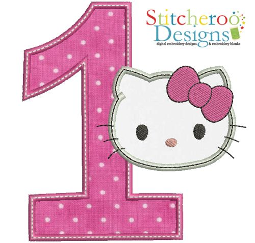 f3d5eb0c7 Hello Kitty Numbers | Hello Kitty #1 applique embroidery design ...