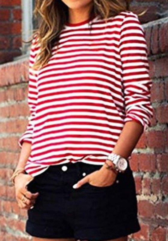 großer Rabattverkauf wähle authentisch billig für Rabatt Red-White Striped Print Long Sleeve Round Neck Fall Fashion ...