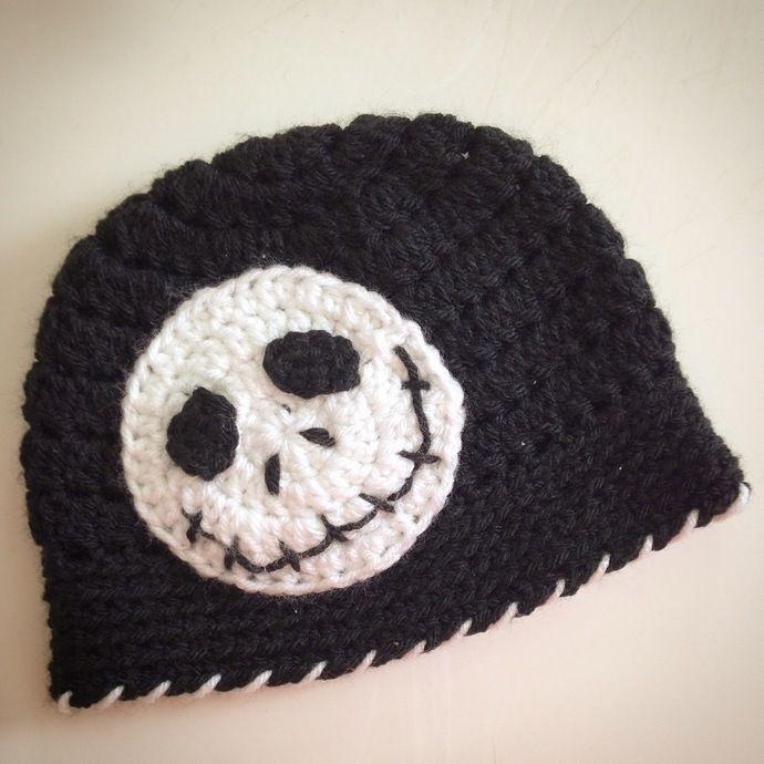 Crochet Jack Skellington hat, nightmare before Christmas beanie, crochet beanie, crochet hat, Jack Skellington beanie, Halloween beanie by You'veBeenYarned, $20.00 USD