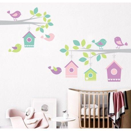 Vinilo habitacion bebe ramas pajaros casa vinilo - Habitaciones infantiles economicas ...