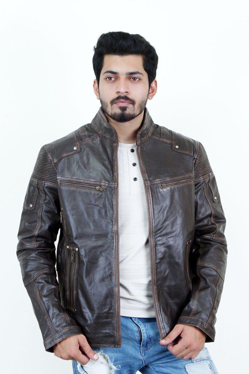 Vintage Mens Bleed Prime Leather JacketHandmade