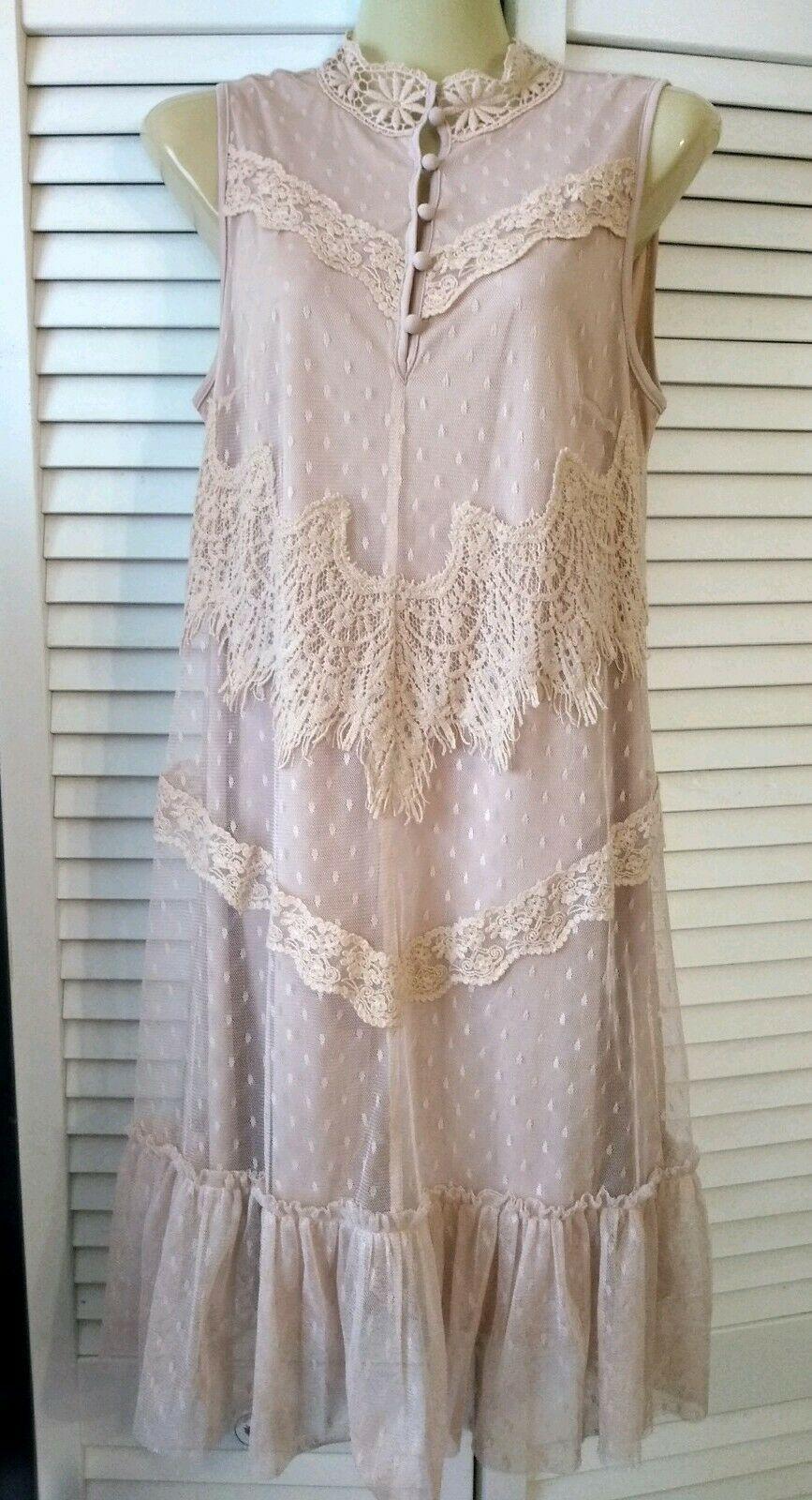 H&M Ivory Crotchet Layered Sun Dress Size 12