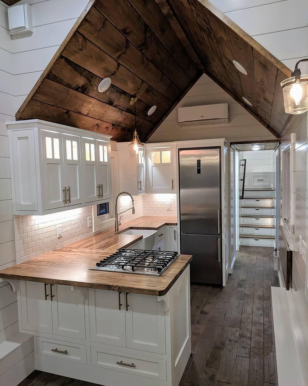 Tiny House Hunter On Instagram This Tiny Home Interior Is Gorgeous We Love The Vaulte Tiny House Kitchen Tiny House Interior Design Tiny House Hunters