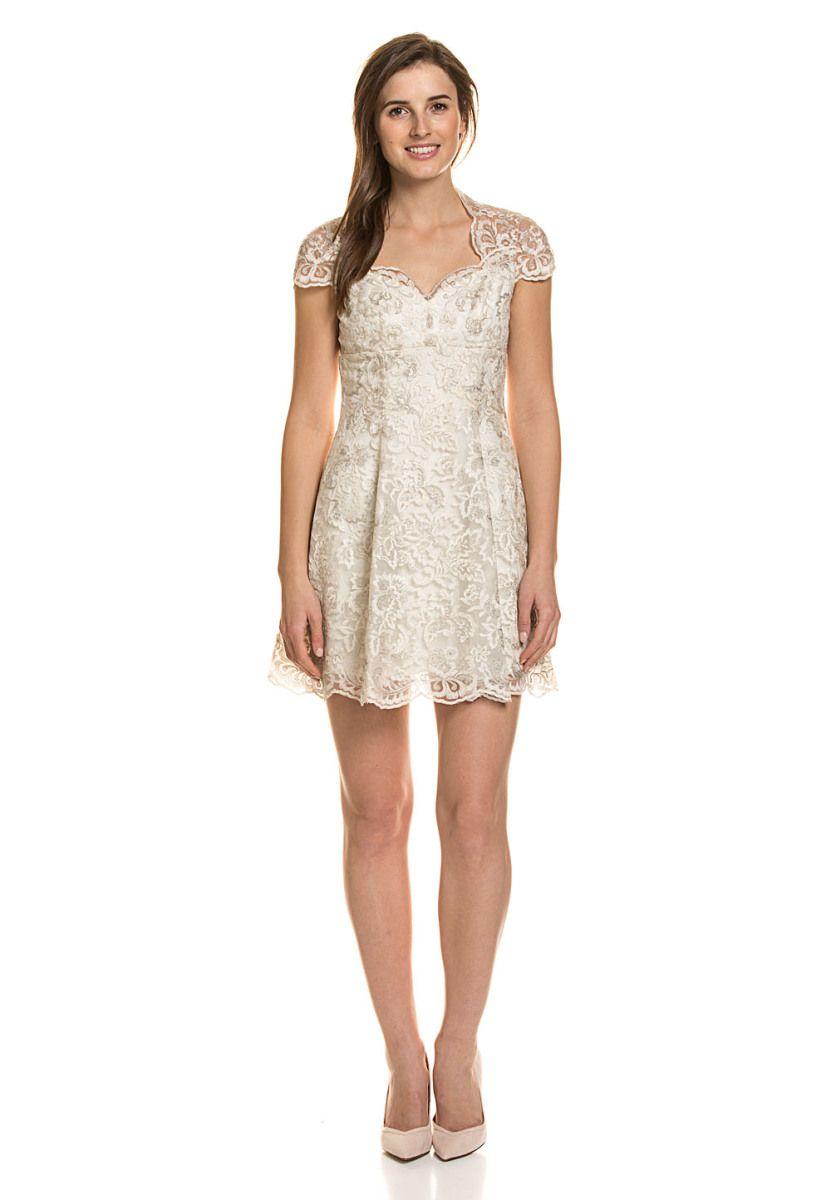 Marchesa Notte Kleid, Kurzarm, Herzausschnitt beige Jetzt bestellen ...