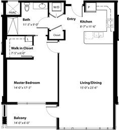 700 Sq Ft Apartment Floor Plan 1 Bedroom 35 X 20 Google Search 1 Bedroom House Plans Floor Plans Ranch One Bedroom House