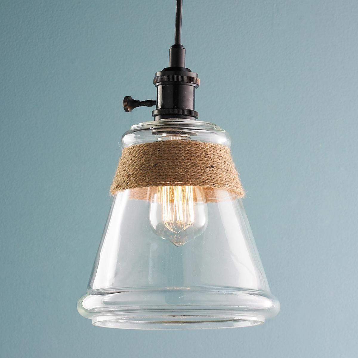 Clear Glass & Rope Pendant Light | Glass shades, Glass and Hardware