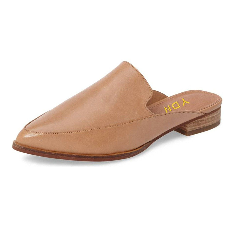 8513e32925e19 Amazon.com   YDN Women Low Heels Mules Slip On Fltas Loafers Pointy ...