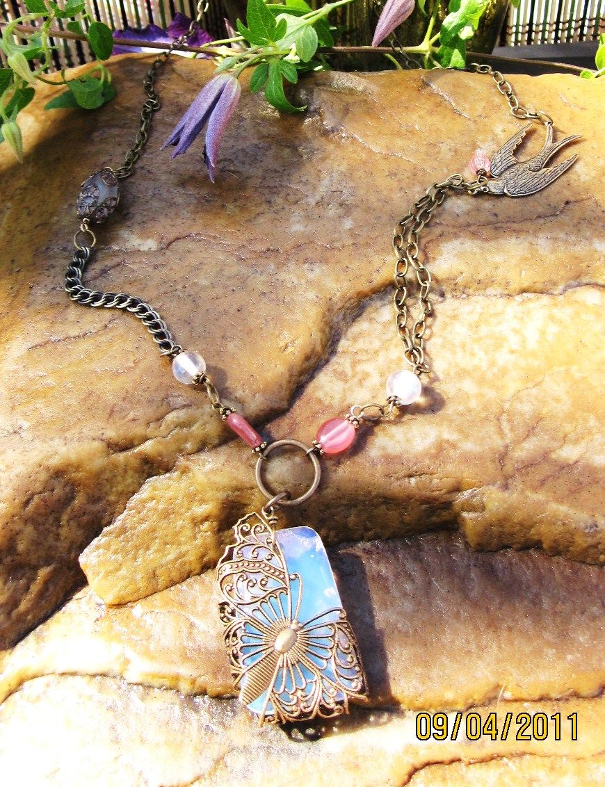 EMBRACING OPAL Butterfly Necklace SOLD