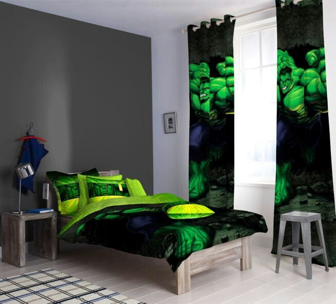 Sensational Design Green Bed. Sensational Marvel Bedroom D cor in a Feasible Range  Hulk Personally I would use the curtains or bedding to make chair throw themed room Kids Ideas Pinterest Room Bedrooms