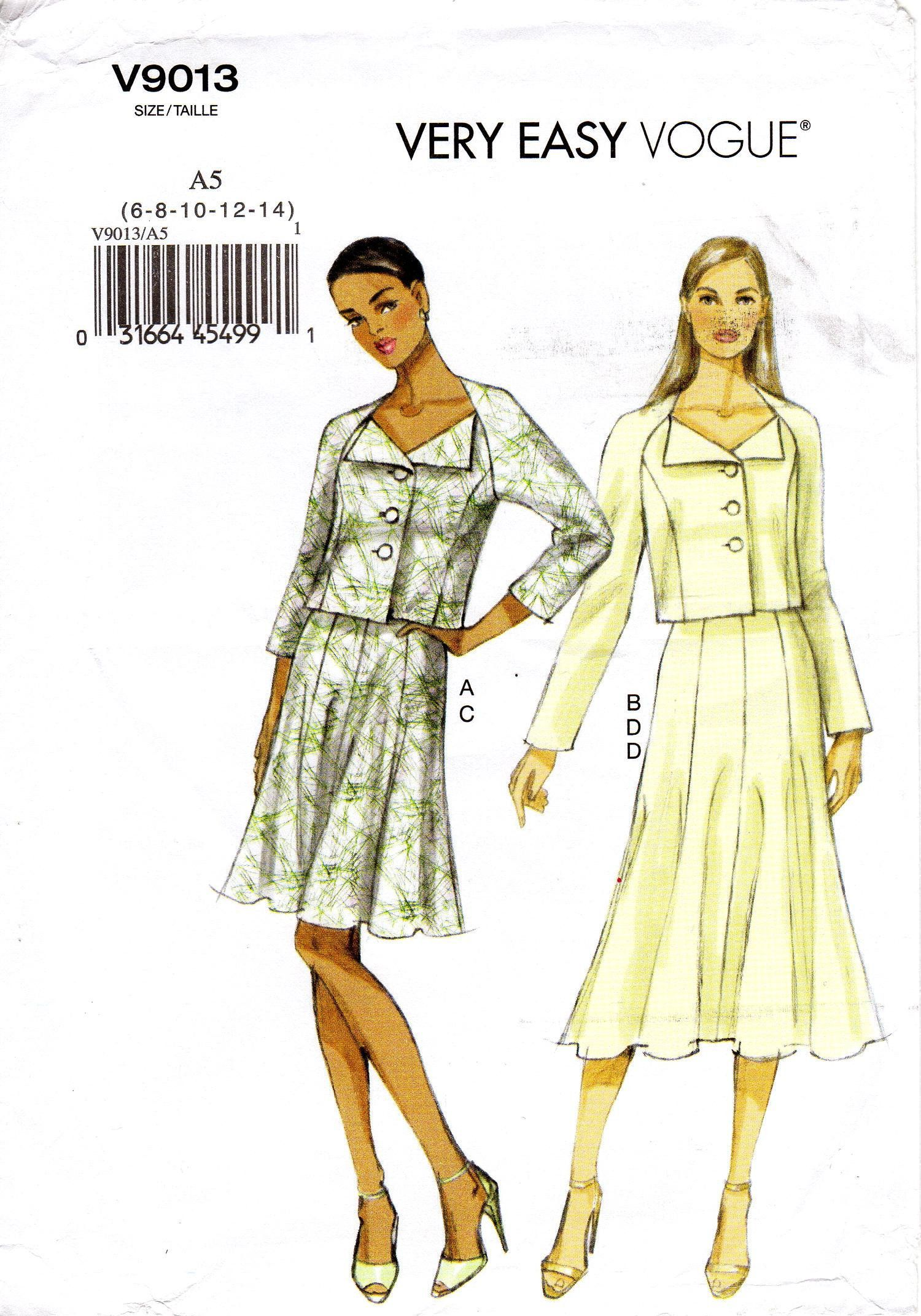 Sz 6 8 10 12 14 Vogue Separates Pattern V9013 Misses Raglan