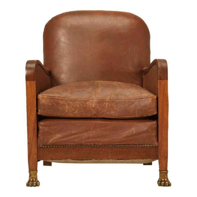 Awe Inspiring Circa 1940S French Leather Club Chair With Unusual Paw Feet Machost Co Dining Chair Design Ideas Machostcouk